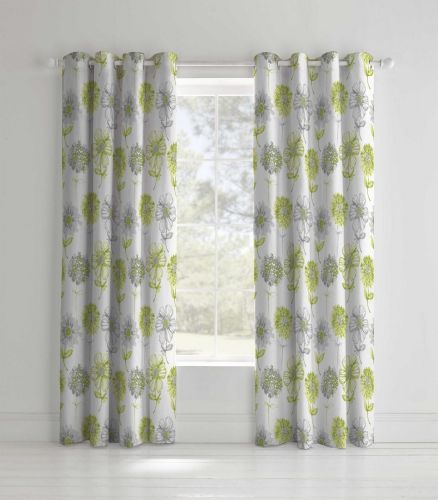 Catherine Lansfield Banbury Floral Green Eyelet Curtains
